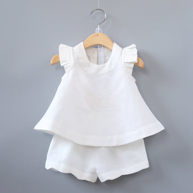 Fashionable Sleeveless Solid O-Neck T-shirts+Pants 2Pcs, Cute!