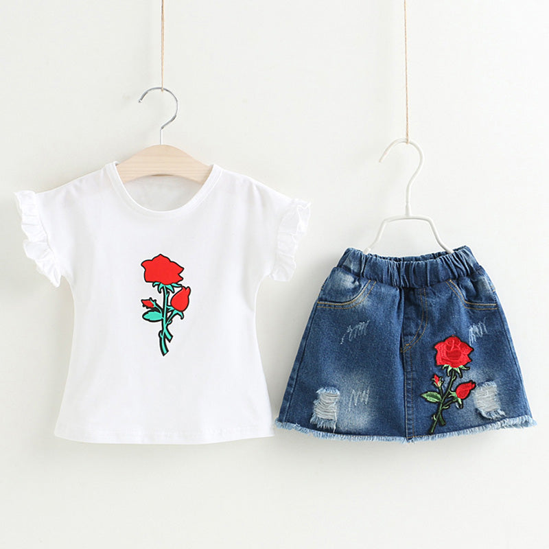 Trendy Girls Sets, Rose Print & Jeans (Embroidery Set)