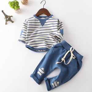 Little Blessings Set for Boys (Long Sleeve Striped T-shirt+Pants 2Pc)
