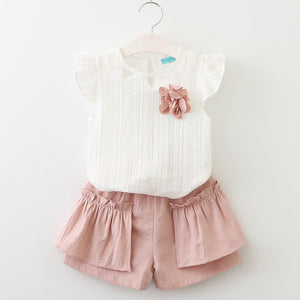 Summer Style Kids Clothing Sets (Sleeveless White T-shirt+Pink Pants 2Pcs)