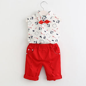 Boys Cute set, Shirt+Red Pants+Belt 3Pcs!