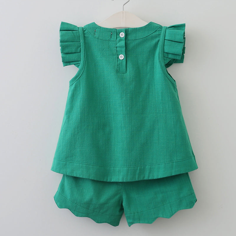 Girls Dress Sets, New Arrivals Spring & Summer O-Neck Sleeveless Solid