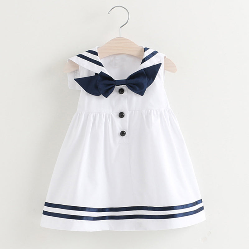 Preppy Style Sleeveless Bow Striped Design
