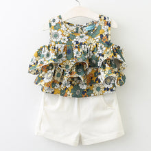 Popular Sleeveless O-Neck Floral Shirt+ White Pants 2Pcs
