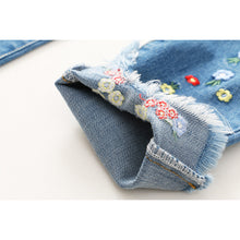 Jeans Trousers Flowers Embroidery Pants