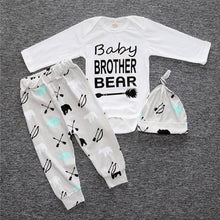 Bro/Sis Bear! Sibling Baby Set with Letter Prints Rompers+Hat+Pants 3pcs