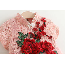 Red Flowers Casual Lace Tutu Dress
