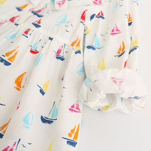 Sailboat Print Ribbon Bow Dress