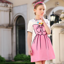 Pink Bow-knot Print Shor-Sleeve Dress For 4-14 Years