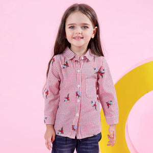 Girls Blouse with Red Flowers Strip For 3-7 Years