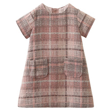 O-neck Plaid Pocket Design Dress