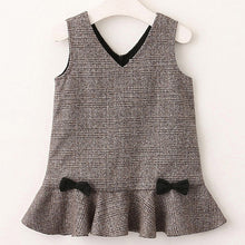 V-Neck Plaid With Bow for Girls