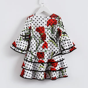 European Style FulL-Length Dot Pattern Dress For 4-14Y