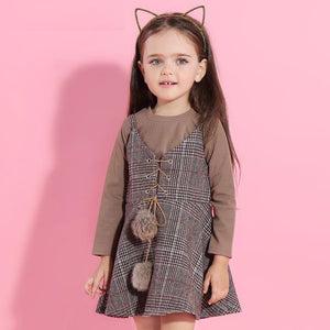 New Autumn Dress Sets with Fur Ball Long Sleeve