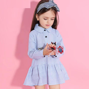 New Long Sleeve Striped Embroidery Dress For 3-7 Years