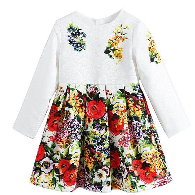 Kids Floral Pattern Long Sleeve Dresses For 4-14 Years
