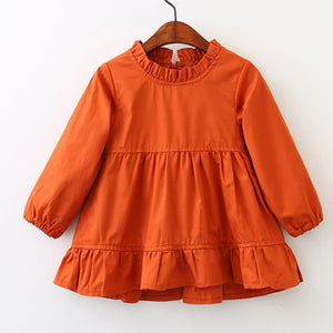 Long Sleeve Solid Ruffles