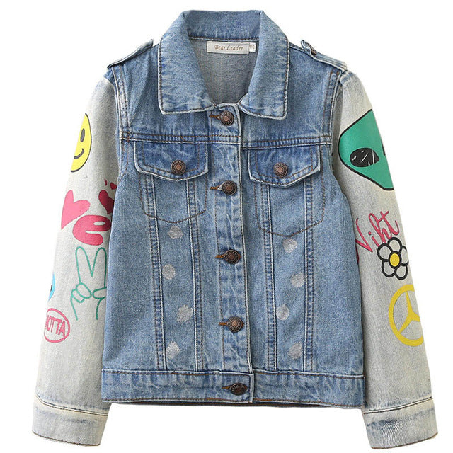 Turn-down Collar Printing Design Denim Jeans Jacket