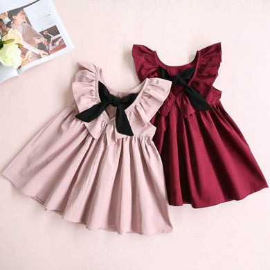 Solid Bowknot Dress
