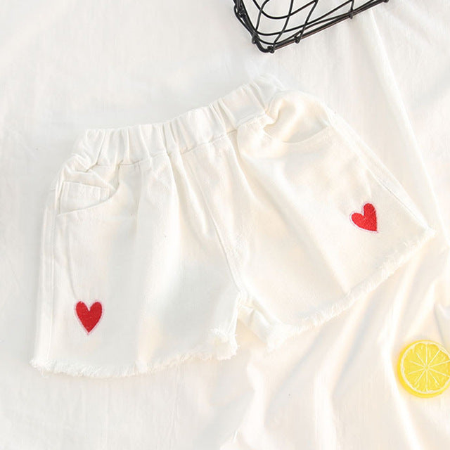 Embroidery Denim Love Shorts