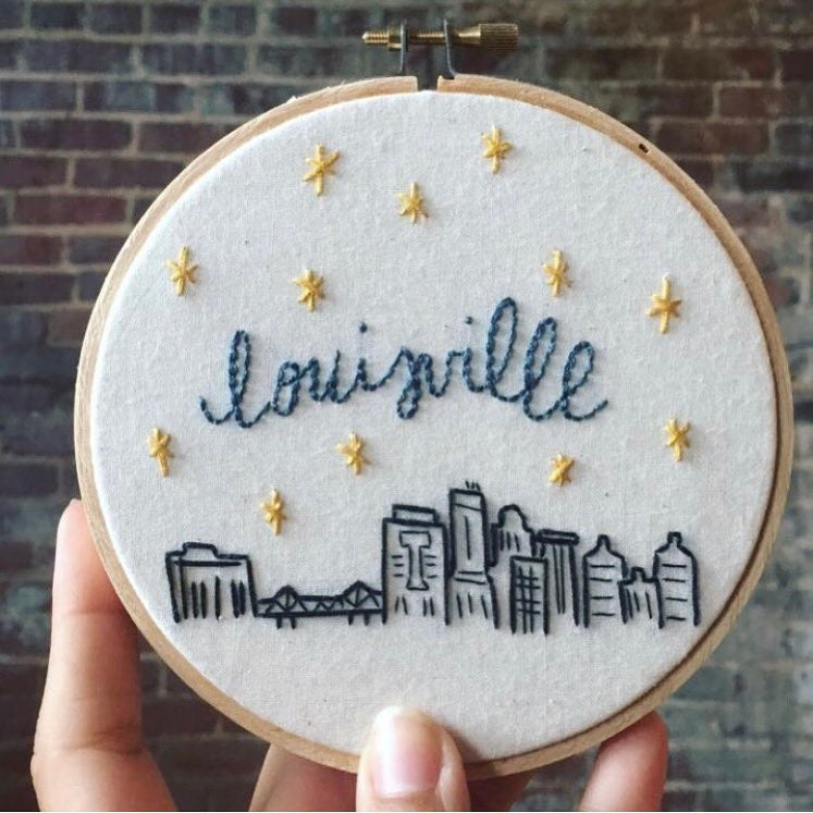 hand embroidery class embroidery hoop with louisville skyline