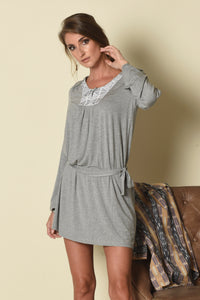 Shainna Tunic Dress with Yoke Inset (indigenous), H. Grey