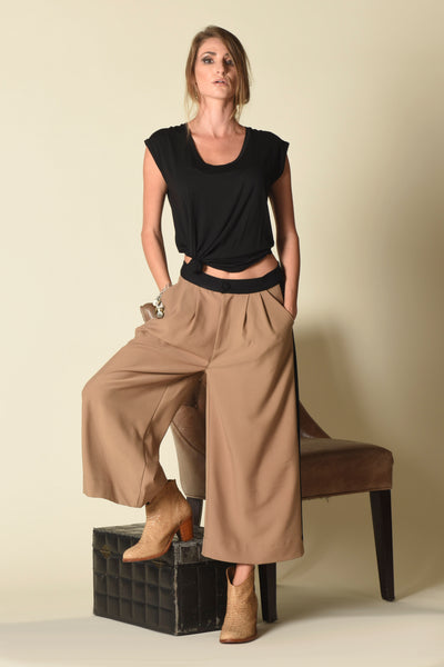 Queenie Gaucho Cullotte Pants, Colorblock
