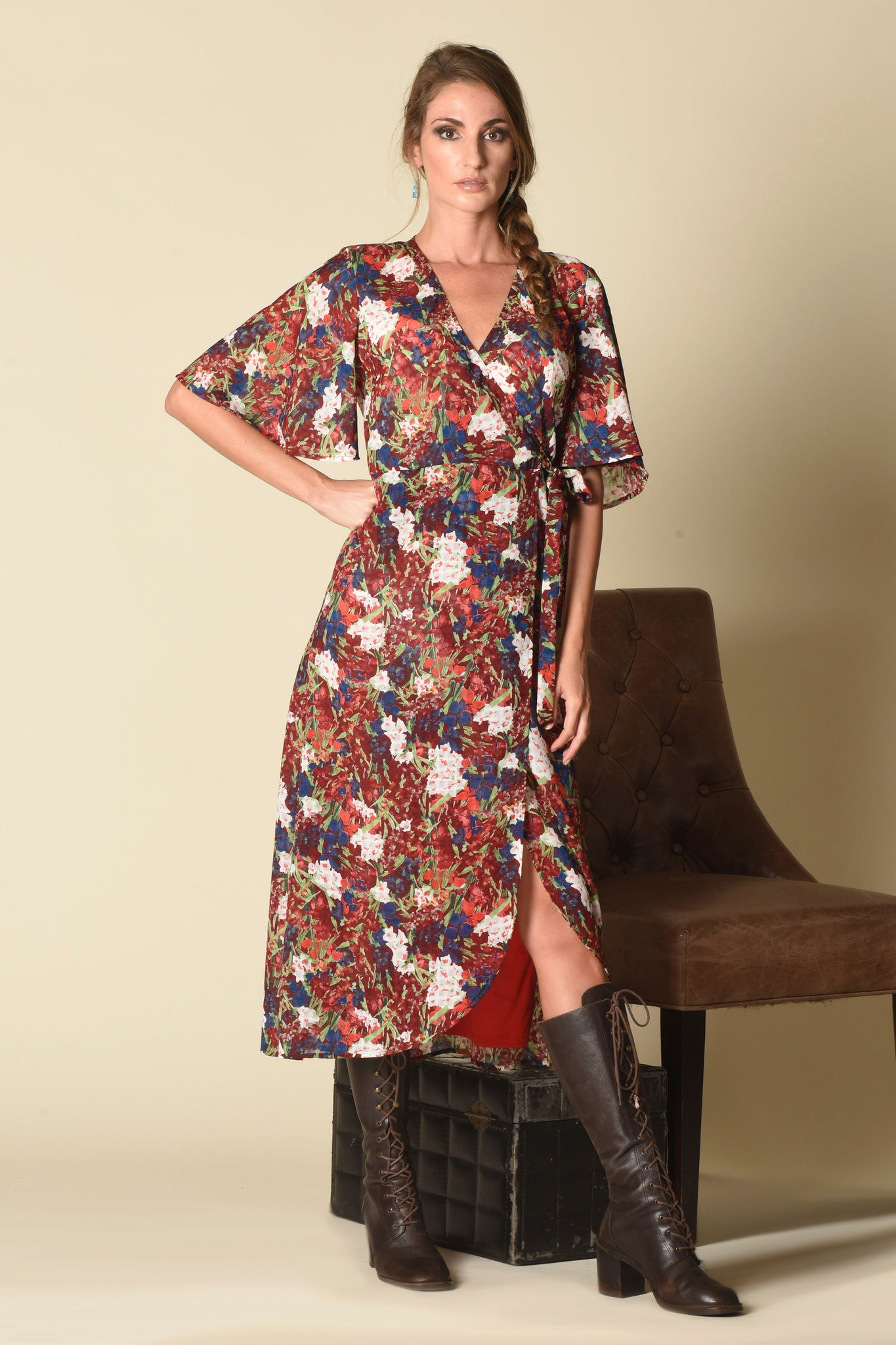 Maria Wrap Dress, Watercolor Floral