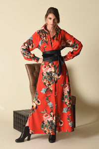 Christine Maxi Shirt Dress, Majestic Rose