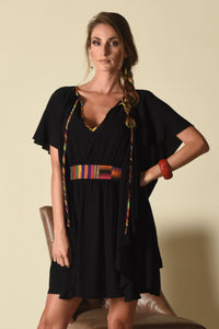 Kathleen Cascade Dress, Black (indigenous)