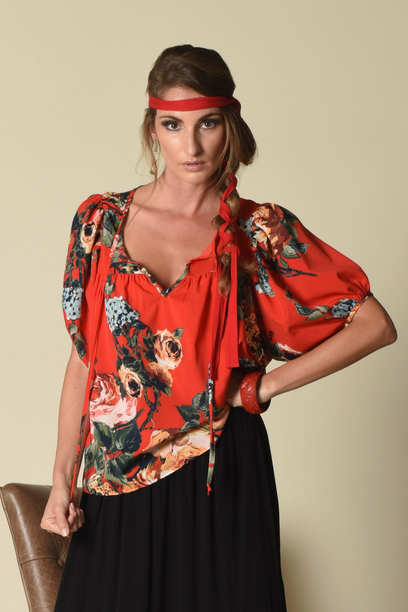 Taryn Yoke Top w/ Bubble Sleeves, Majestic Rose