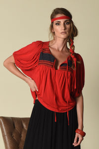 Taryn Yoke Top w/ Bubble-Sleeves (indigenous), Red