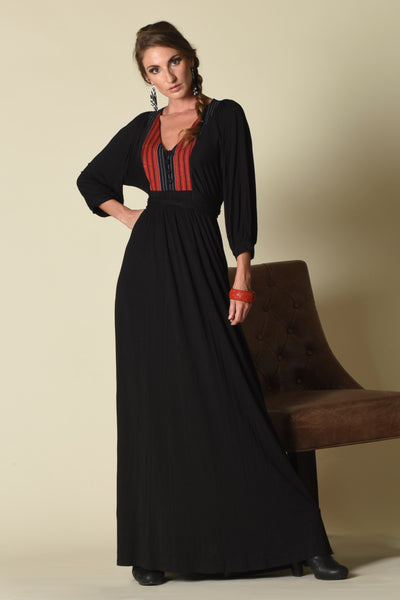 Lulu Maxi Dress with Front Yoke Inset (indigenous), Black