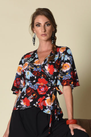 Lydia Wrap Top with Flounce Sleeves, Vibrant Floral