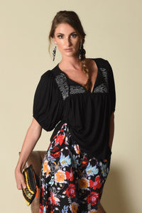 Taryn Top with Indigenous Handwoven Yokes, Black