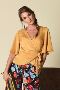 Lydia Wrap Top with Flounce Sleeves, Gold