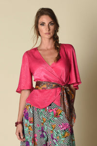 Lydia Wrap Top with Flounce Sleeves, Fuschia