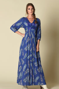 Lulu Maxi Dress with Front Yoke Inset (indigenous), Cobalt