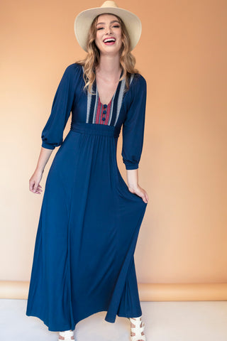 Lulu Maxi Dress with Front Yoke Inset (indigenous), Navy