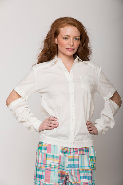 Cassidy 2-way Convertible Shirt, Ivory