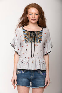 Carolina Cosmic Universe Ruffle-Sleeve Top
