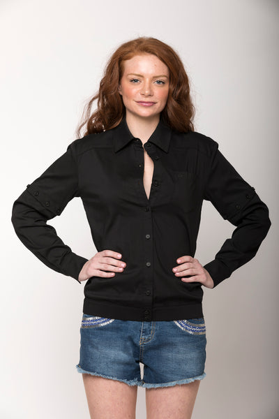 Cassidy 2-way Convertible Shirt, Black