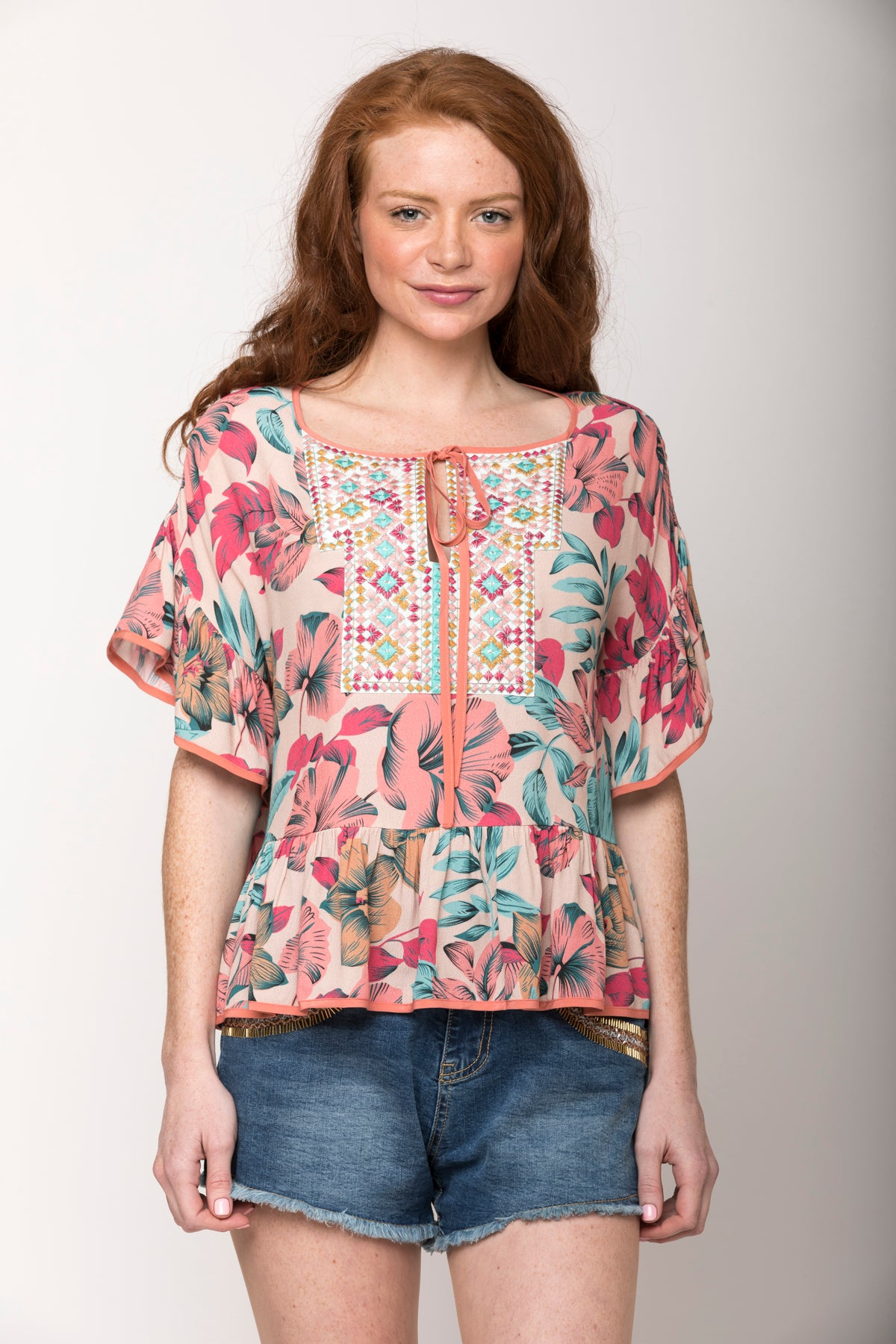 Carolina Tropical Floral Ruffle-Sleeve Top