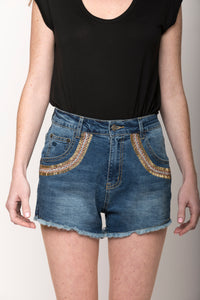 Samantha Beaded Denim Shorts, Indigo/Rose/Gold