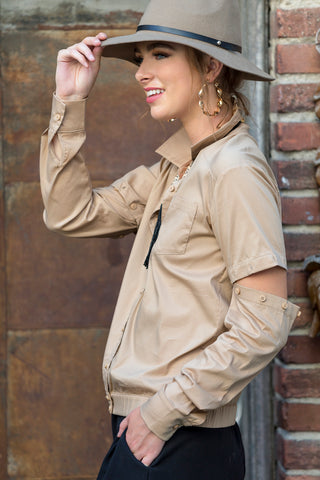 Cassidy 2-way Convertible Shirt, Khaki