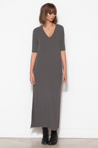 Addy V-neck Column Dress, Gunmetal