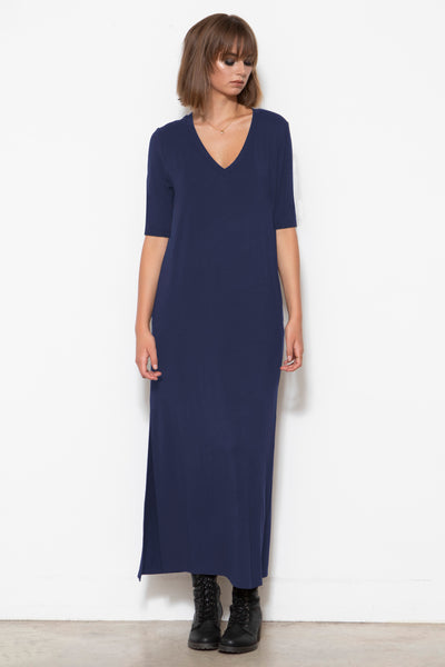 Addy V-neck Column Dress, Indigo