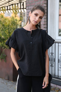 Amanda Henley Top with Ruffle Sleeves, Black