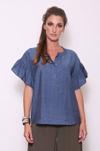 Amanda Henley Top with Ruffle Sleeves, Ocean Blue