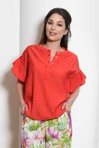 Amanda Henley Top with Ruffle Sleeves, Red
